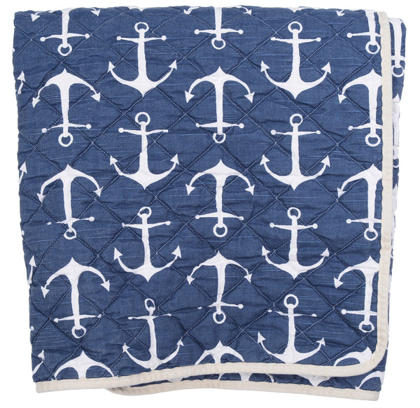 Quilted Throw - navy anchors
