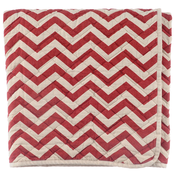 quilted throw - red zig zag
