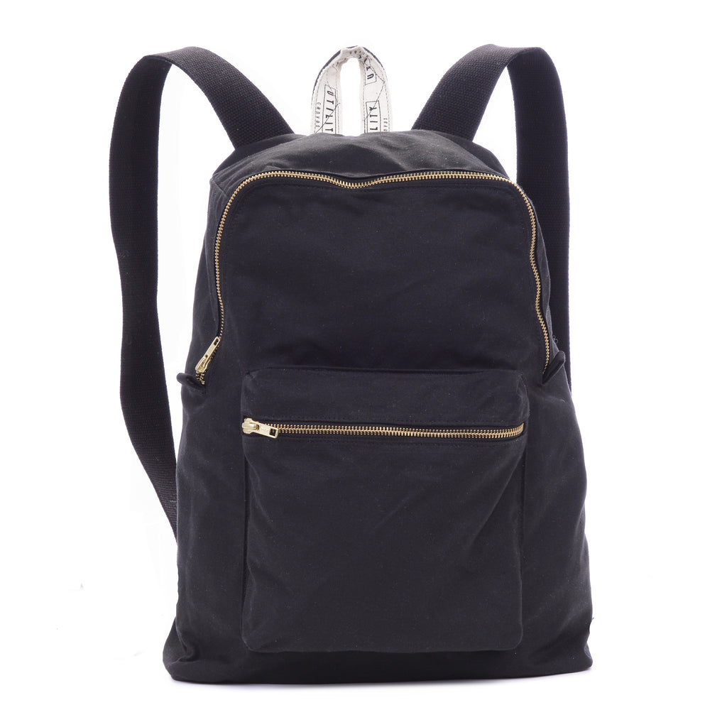 Waxed Backpack - black