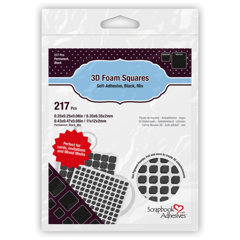 Scrapbook Adhesives - 3D Foam Squares Black Mix (217pcs)