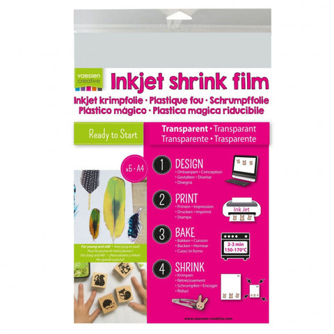 Vaessen Creative - Shrink Plastic Printable A4 transparant (5pcs)