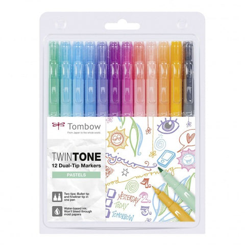 Tombow Twintone dual-tip markers pastels 12st