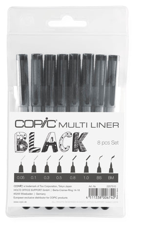 Copic - Multiliner Black Set (8pcs)