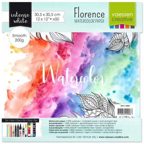 Vaessen Creative - Florence Watercolor paper smooth White 12x12 inch 50pcs 200g