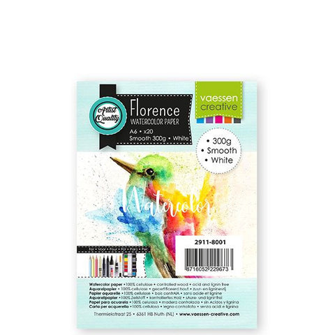 Vaessen Creative - Florence  Watercolor paper smooth White A6 20pcs 300g