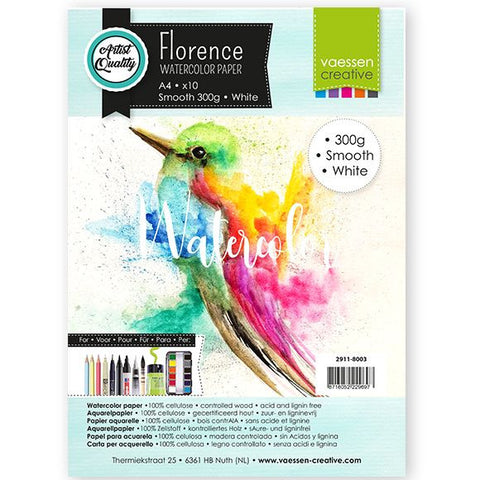 Vaessen Creative - Florence  Watercolor paper smooth White A4 10pcs 300g