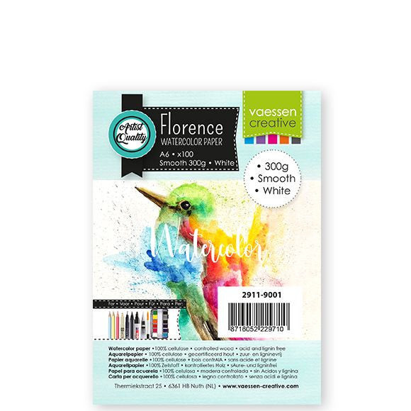 Vaessen Creative - Florence  Watercolor paper smooth White A6 100pcs 300g