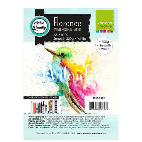 Vaessen Creative - Florence  Watercolor paper smooth White A5 100pcs 300g