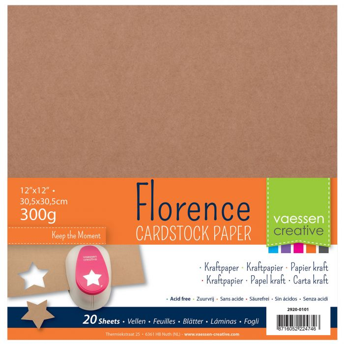 Vaessen Creative - Florence Smooth Cardstock Kraft 12x12""