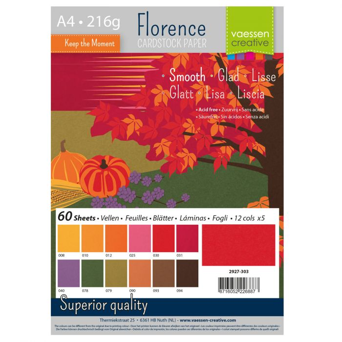 Vaessen Creative - Florence Smooth Cardstock Paper Pack Autumn
