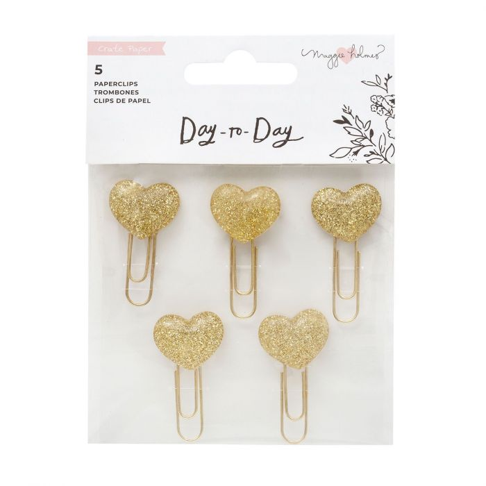 American Crafts - Crate Paper Day-to-Day disc planner embellishment paper clips Gold heart