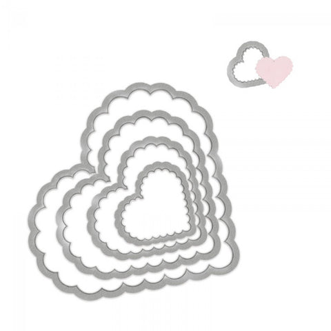 Sizzix - Framelits Die set scallop hearts 5st
