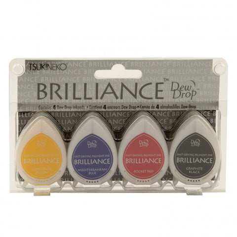 Tsukineko - Brilliance dew drop ink pad x4 set Basics