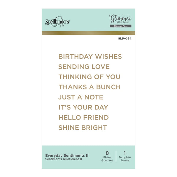 Spellbinders - Everyday Sentiments II Glimmer Hot Foil Plate