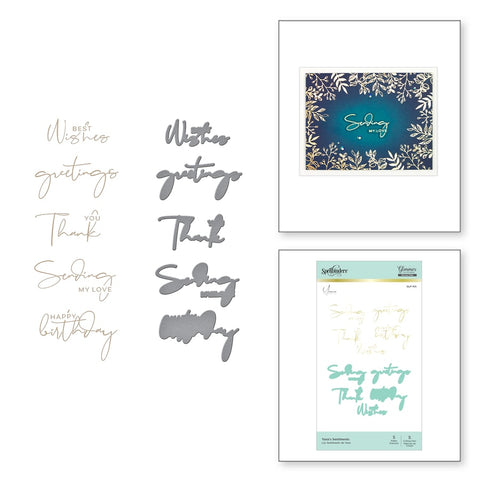 Spellbinders - Yana's Sentiments Glimmer Hot Foil Plate & Die Set from Foiled Basics by Yana Smakula