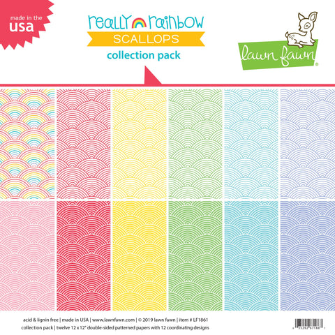 Lawn Fawn - Really Rainbow Scallops - Collection Pack 12x12""