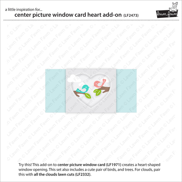 Lawn Fawn - Center Picture Window Card Heart Add-On
