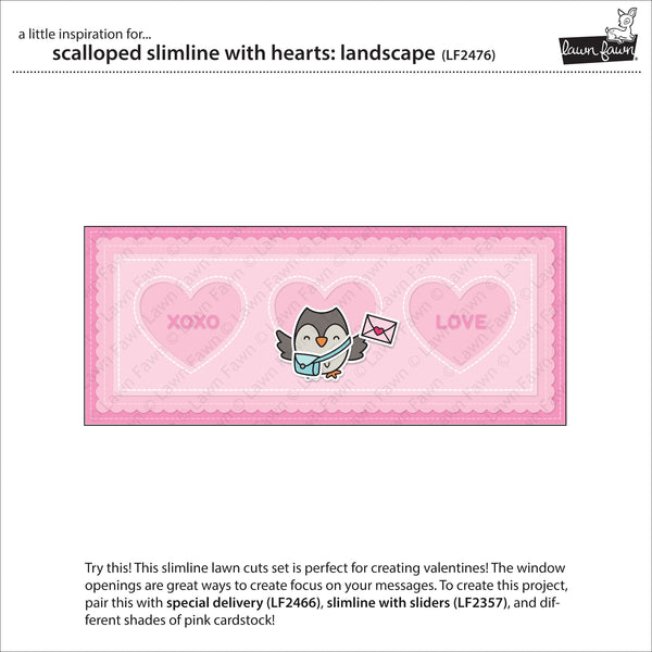 Lawn Fawn - Scalloped Slimline With Hearts: Landscape