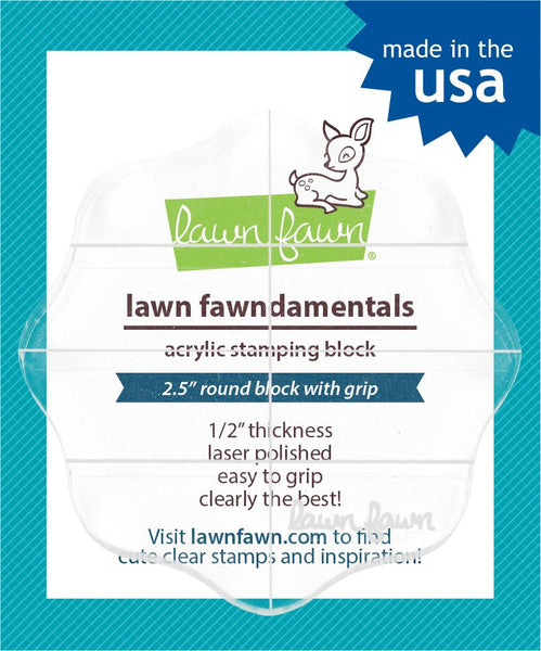 "Lawn Fawn - 2.5"" round grip block with grid"