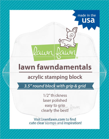 "Lawn Fawn - 3.5"" round grip block with grid"