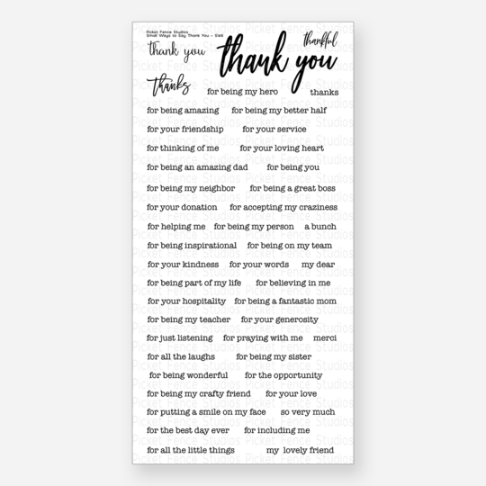 Picket Fence Studios - Small Ways To Say Thank You Clear Stamps