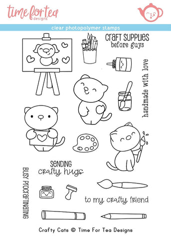 Time for Tea Designs - Crafty Cats Clear Stamp Set