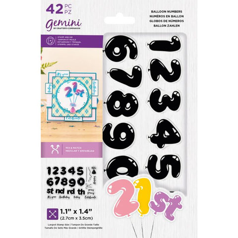 Crafter's Companion - Gemini Balloon Numbers Stamp & Die Set