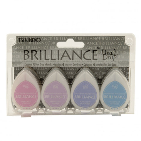 Tsukineko - Brilliance dew drop ink pad x4 set jewel tone