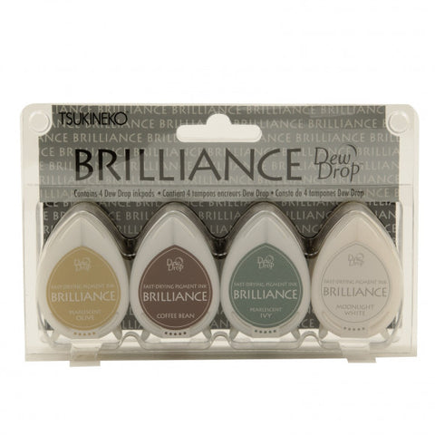 Tsukineko - Brilliance dew drop ink pad x4 set earth tone