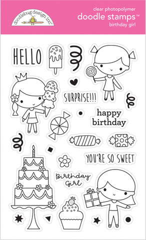Doodlebug Design - Birthday Girl Doodle Stamps