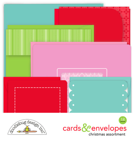 Doodlebug Design - Christmas Cards & Envelopes (12pcs)