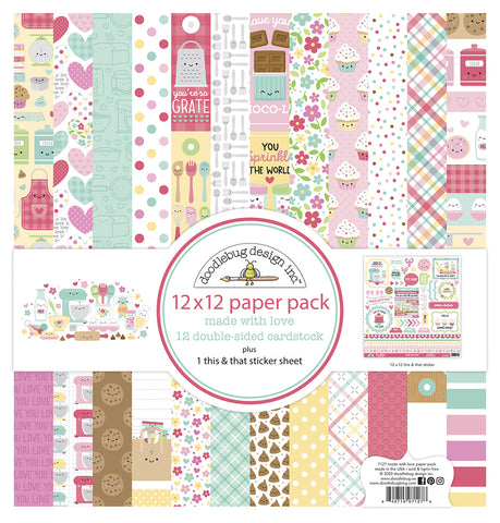 Doodlebug Design - Made With Love 12x12 Inch Paper Pack