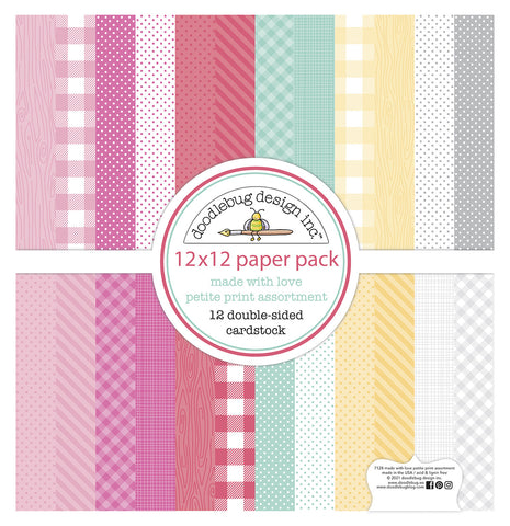 Doodlebug Design - Made With Love 12x12 Inch Petite Print Paper Pack