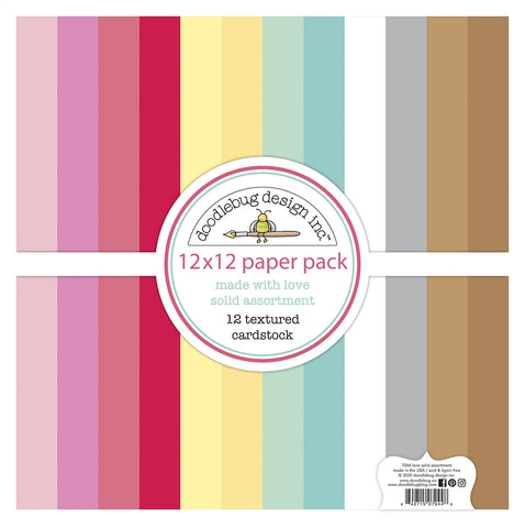 Doodlebug Design - Made With Love12x12 Inch Textured Cardstock Paper Pack
