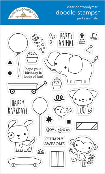 Doodlebug Design - Party Animals - Boy Doodle Stamps