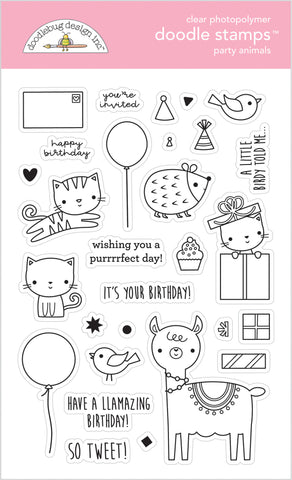 Doodlebug Design - Party Animals - Girl Doodle Stamps
