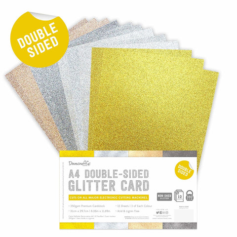 Dovecraft - Double Sided Glitter Bumper Pack A4 Metallic