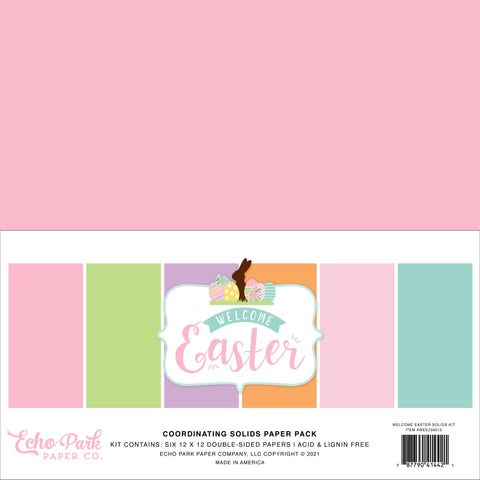 Echo Park - Welcome Easter 12x12 Inch Coordinating Solids Paper Pack