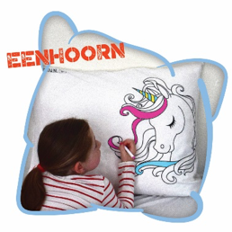 Happy Pillow - Eenhoorn incl. 5 textielstiften