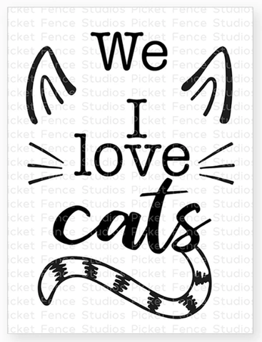 Picket Fence Studios - I Love Cats Clear Stamps