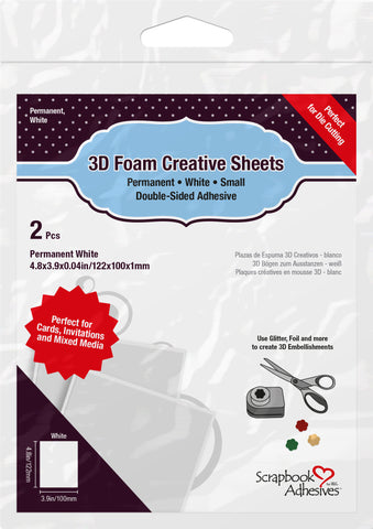 Scrapbook Adhesives - 3D Foam Creative Sheets White Small (2pcs)