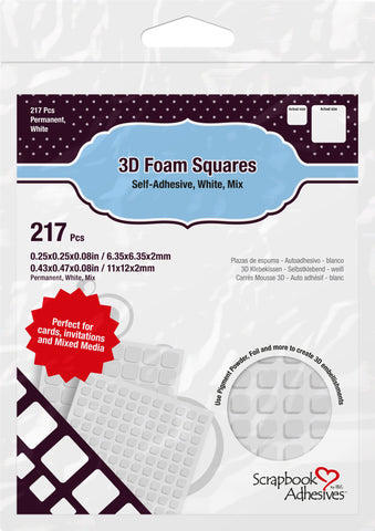 Scrapbook Adhesives - 3D Foam Squares White Mix (217pcs)
