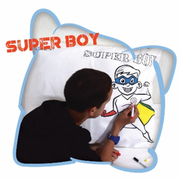 Happy Pillow - Super Boy incl. 5 textielstiften
