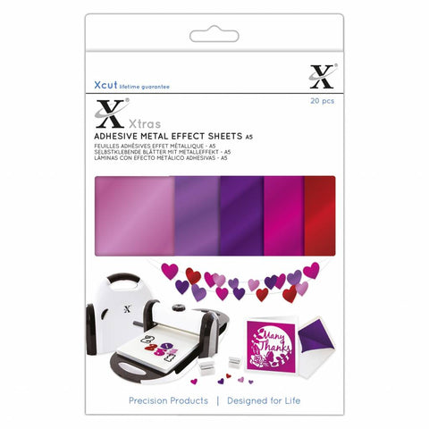 Docrafts - Xcut Xtra's A5 Adhesive Metal Effect Sheets A5 Pinks (20pcs)