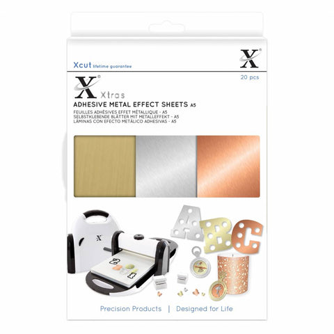 Docrafts - Xcut Xtra's A5 Adhesive Metal Effect Sheets (20pcs)
