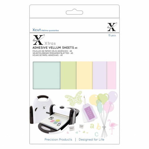 Docrafts - Xcut Xtra's A5 Adhesive Vellum Sheets Coloured (15pcs)