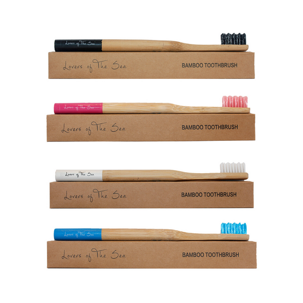 Bamboo Toothbrush (Pack of 4 - Mixed Colors) B - Lovers of The Sea