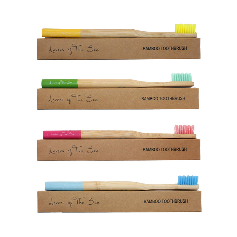 Bamboo Toothbrush (Pack of 4 - Mixed Colors) A - Lovers of The Sea