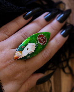 No Rose Without A Thorn (Green) ~ Vitreous Cloisonne Enamel and Sterling Silver