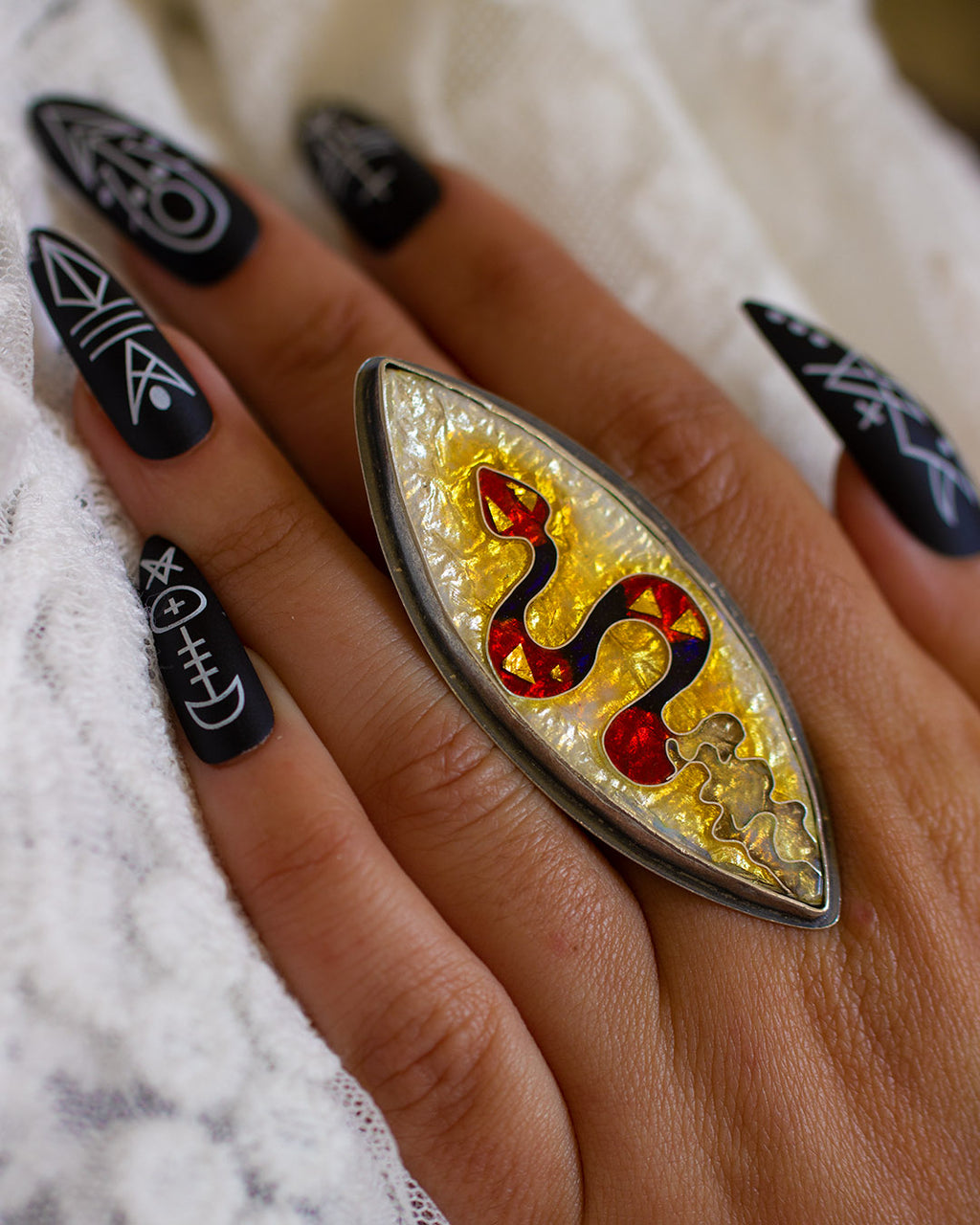 Ecdysis of the Snake Ring ~ Vitreous Cloisonne Enamel and Sterling Silver